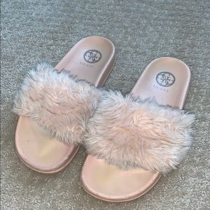 Guess Shoes   Pink Furry Slides   Poshmark